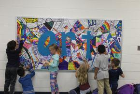 students at art wall